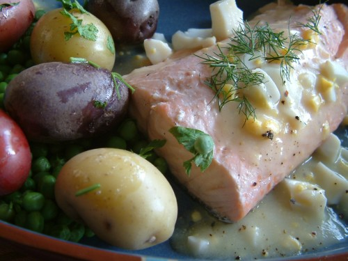 Fourth of July supper: New England poached salmon and egg sauce